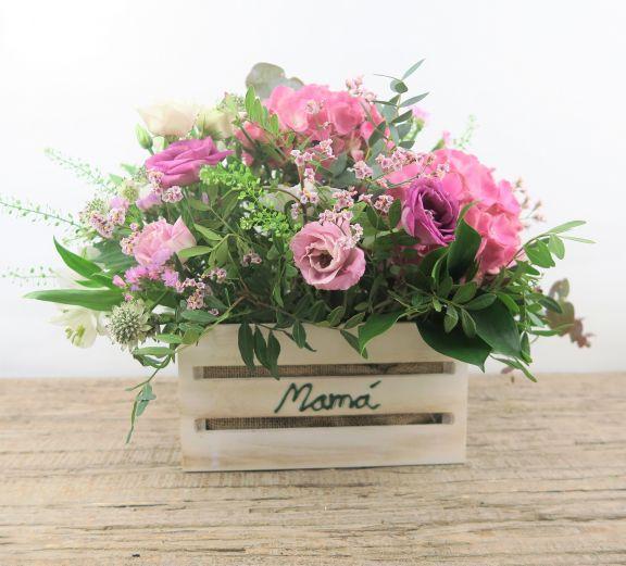 Caja madera hortensia